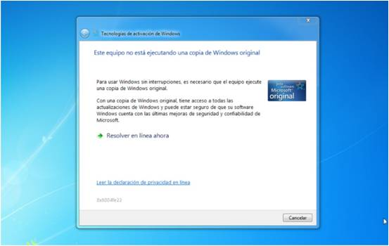 MENSAJE-WINDOWS NO ES ORIGINAL